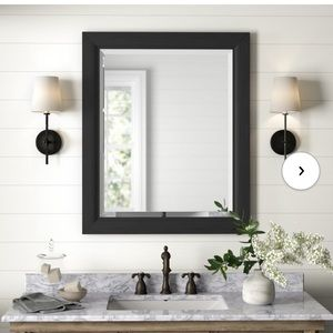 """Crafted from Wood 25.4""""x 21.4"""" Frame Accent Mirror"""